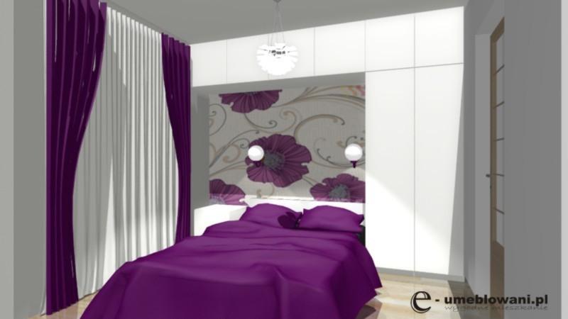 sypialnia, tapeta, fiolet, podłoga drewniana, zabudowa ściany