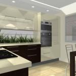 kuchnia nowoczesna, grafika na ścianie, orzech z wanilią