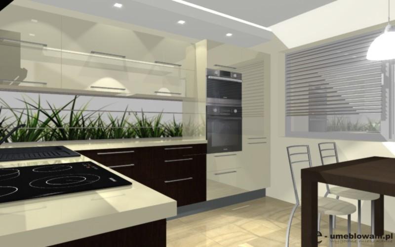 Szafki kuchenne, krem, orzech ciemny, fototapeta na ścianie
