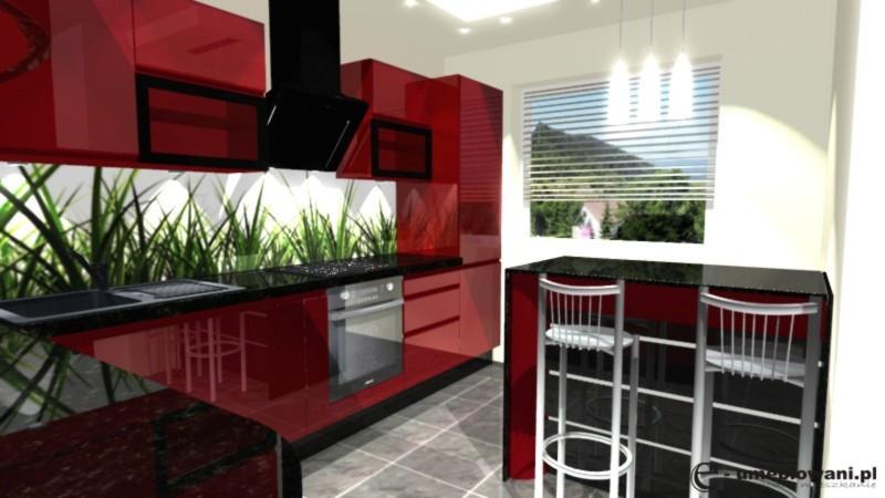 Mała kuchnia, czerwona, barek, hokery, fototapeta z trawą