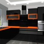umeblowanie kuchni, kuchnia czarna, pomarańczowa, witryny, blat pomarańczowy
