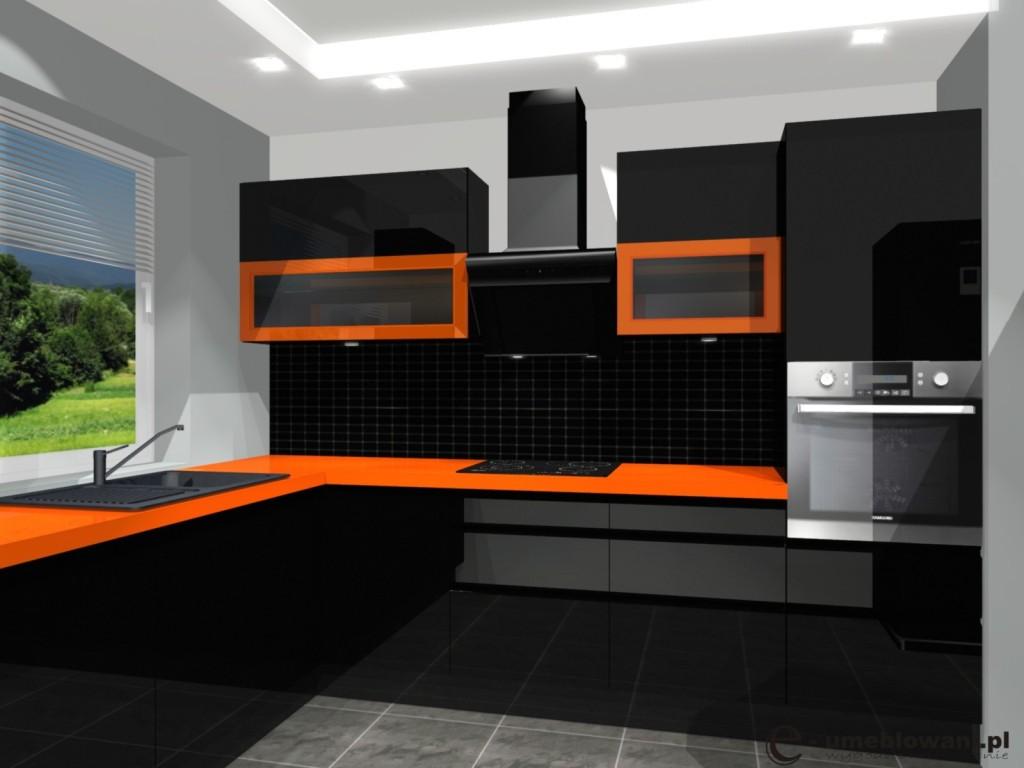 umeblowanie kuchni, kuchnia czarna, pomarańczowa, witryny