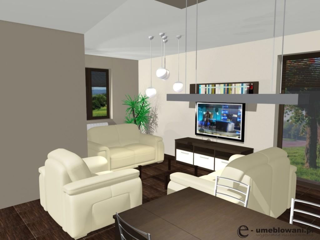 salon, dwie kanapy, fotel, stolik kawowy, jadalnia, szafka pod telewizor