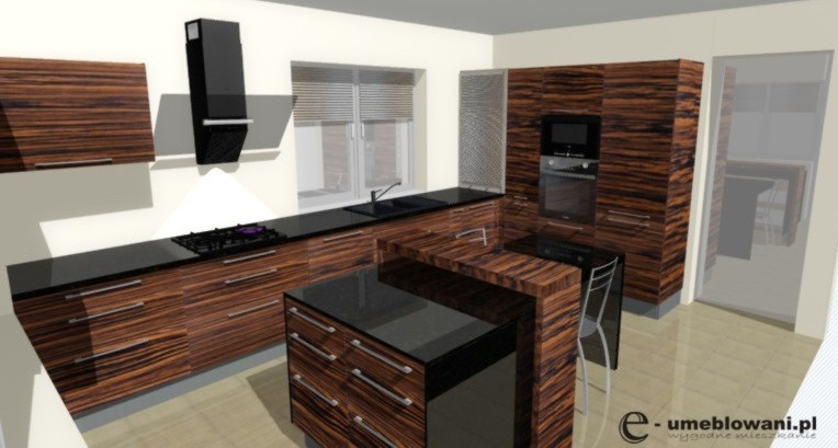 Kuchnia, fornir, palisander, blaty kamienne, wyspa, stół, dwa okna,