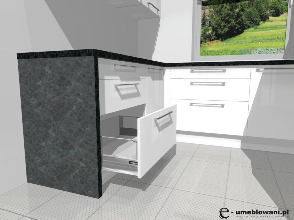 biała kuchnia, szuflady blum, tandembox boxside, zielony blat,