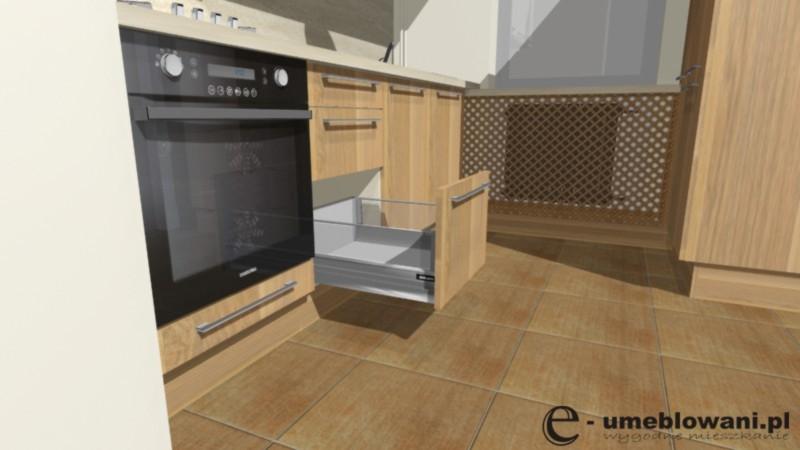 Kuchnia mała, fronty drewniane, szuflady blum, zamaskowanie kaloryfera w kuchni