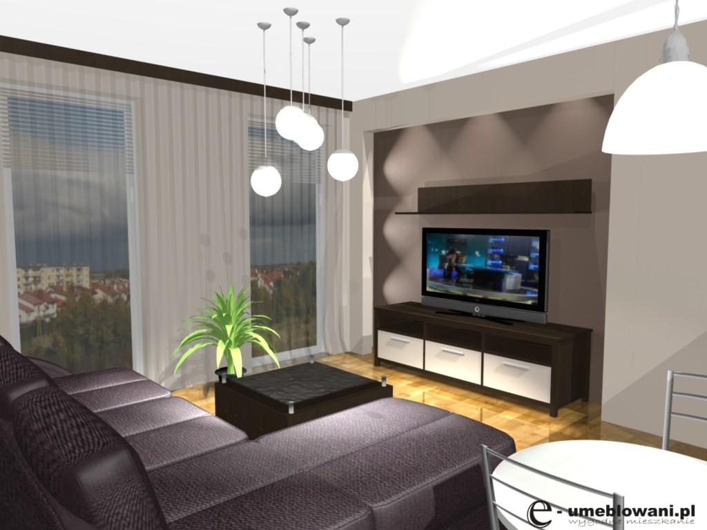 Salon, szafka tv ikea, oświetlenie, kanapa narożna