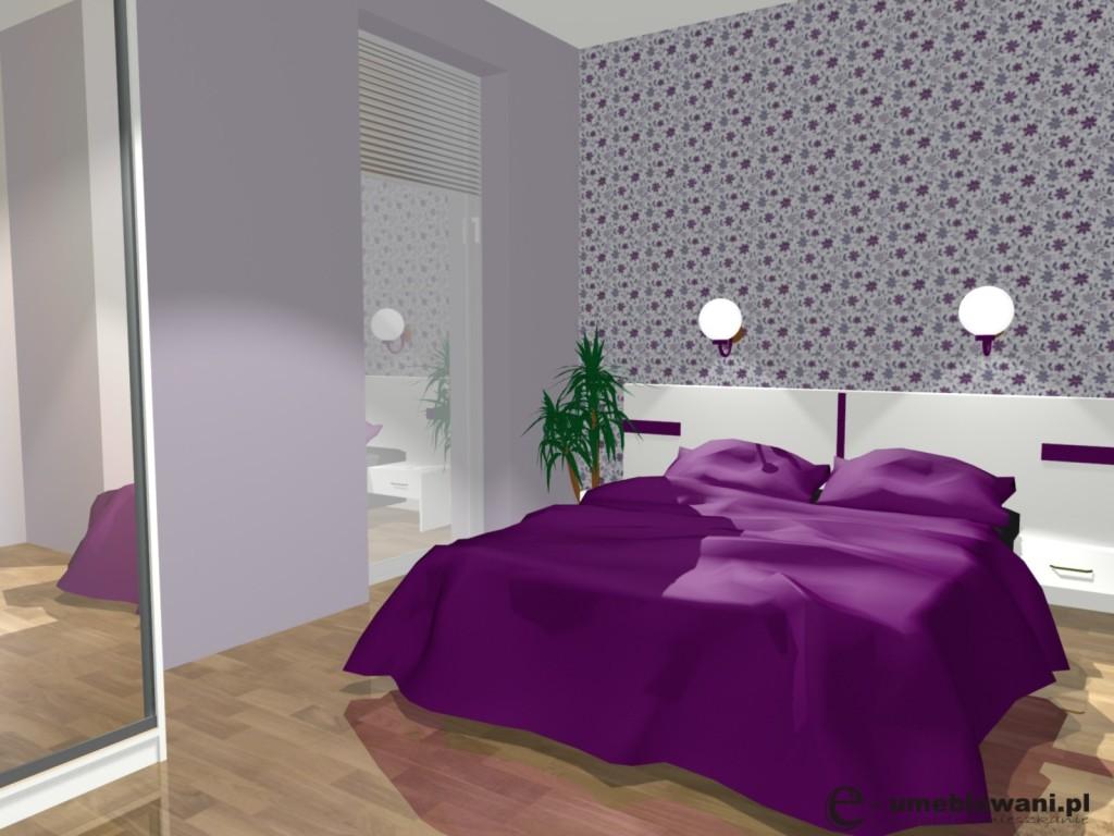 Mała sypialnia, tapeta na ścianie, kinkiety na ścianie, szafa