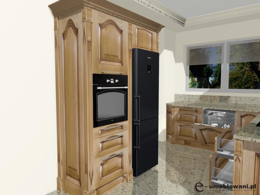 meble kuchenne tradycyjne, zabudowa piekarnika, fronty drewniane, blat kamien   -> Kuchnia Meble Tradycyjne