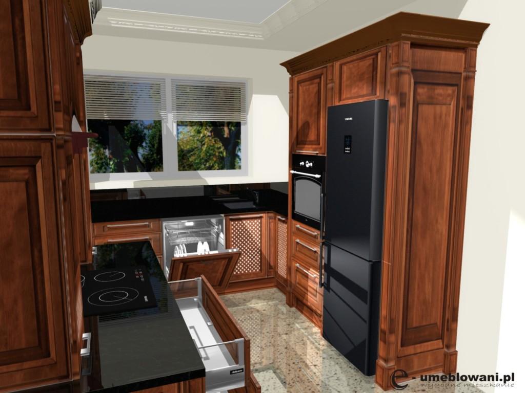 Kuchnia, styl angielski, lodówka wolnostojąca, zabudowa piekarnika, wykończenia w kuchni angielskiej