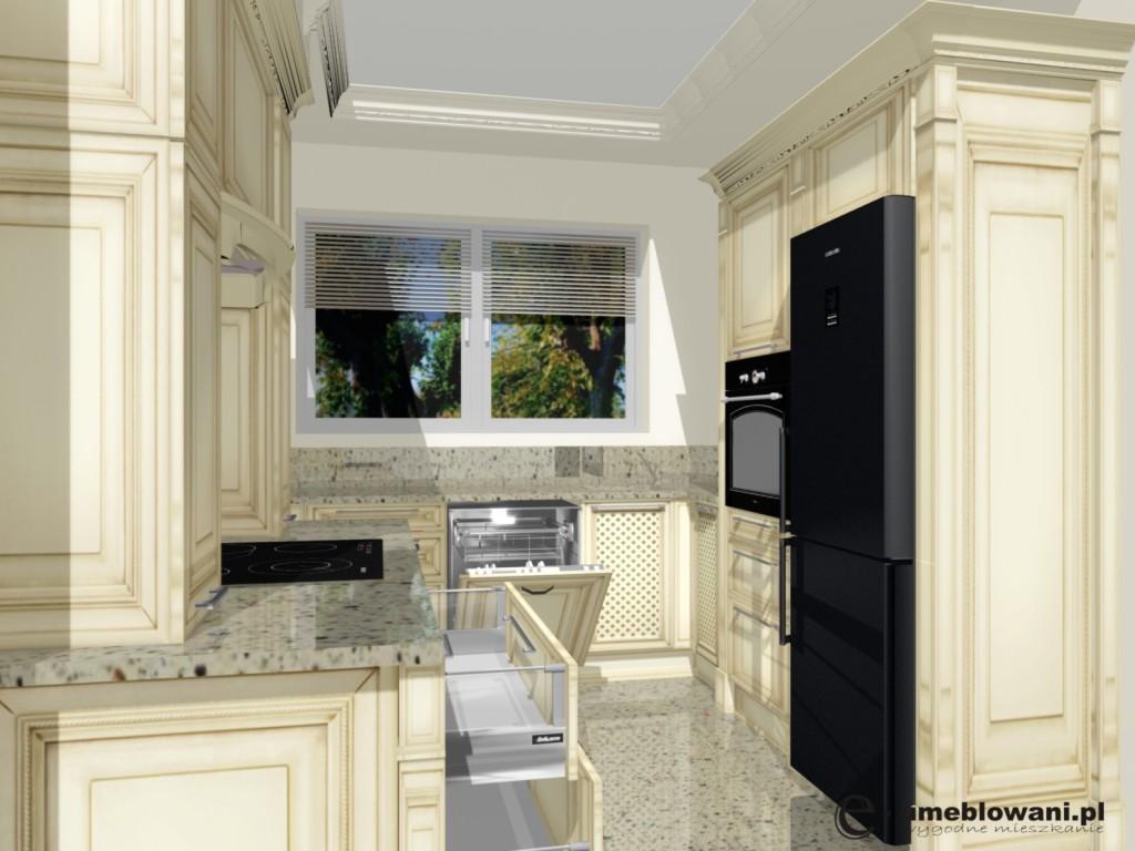 styl kuchni tradycyjny, fronty drewniane, lodówka samsung