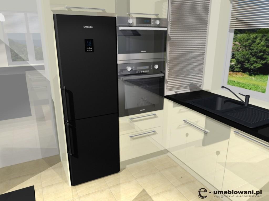 Przebudowa kuchni, nowa kuchnia niewielkim kosztem -> Kuchnia Czarno Ecru