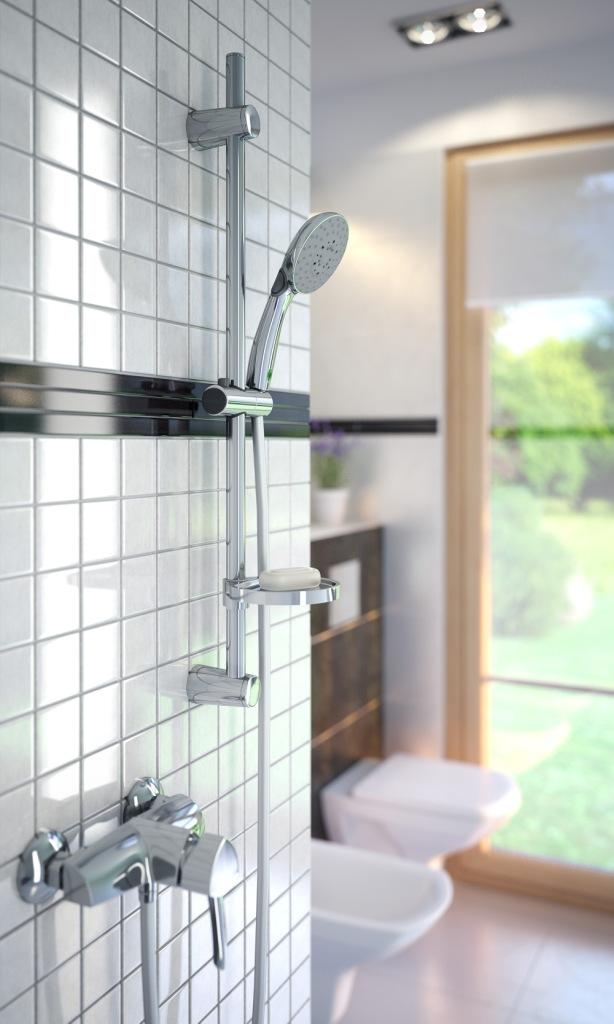 Doppio VerdeLine arażacja, Łazienka, białe kafelki, prysznic