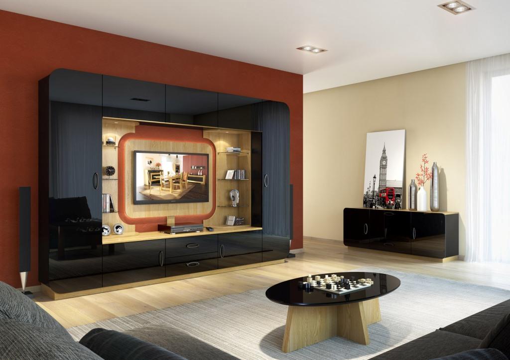 Salon, meblościanka, telewizor, stolik kawowy
