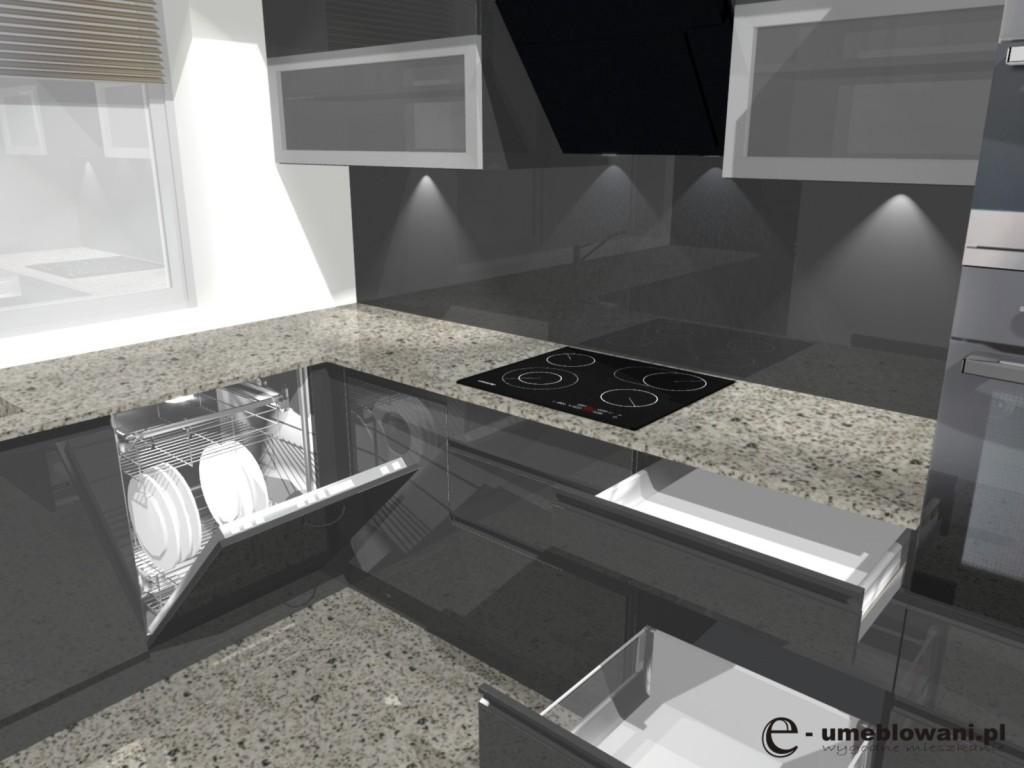 Kuchnia szary połysk, nowoczesna, witryny w szafkach górnych, zmywarka 60 , płyta indukcyjna, aranżacja w kształcie litery L z jednym oknem