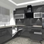 kuchnia w kształcie litery L, witryny, szara połysk, szkło na ścianie