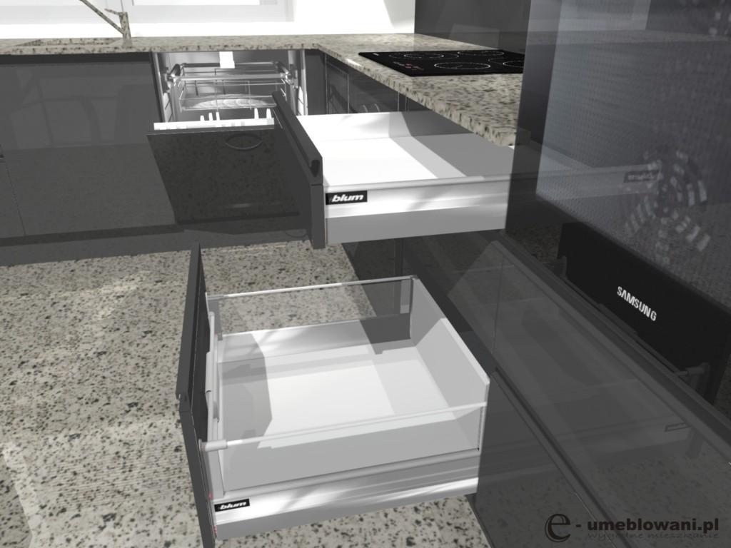Układ kuchni w kształcie litery L, szuflady duże blum tandembox, zmywarka 60