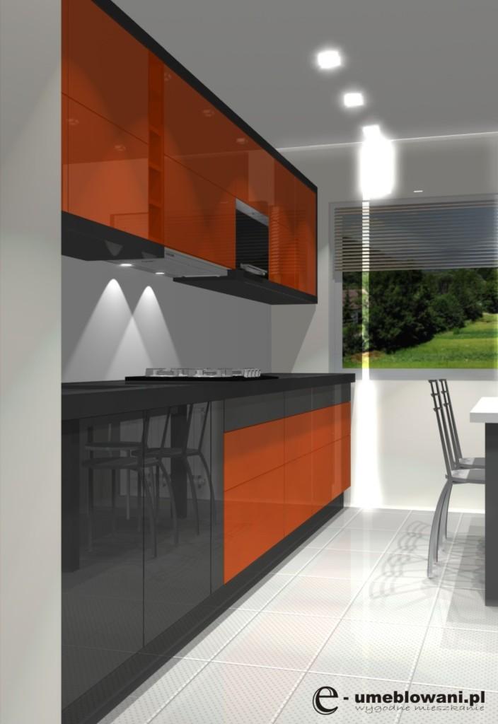 wąska kuchnia w bloku, połysk, pomarańczowa, szara, kafelki, stół w kuchni, mikrofala do zabudowy w górnej szafce