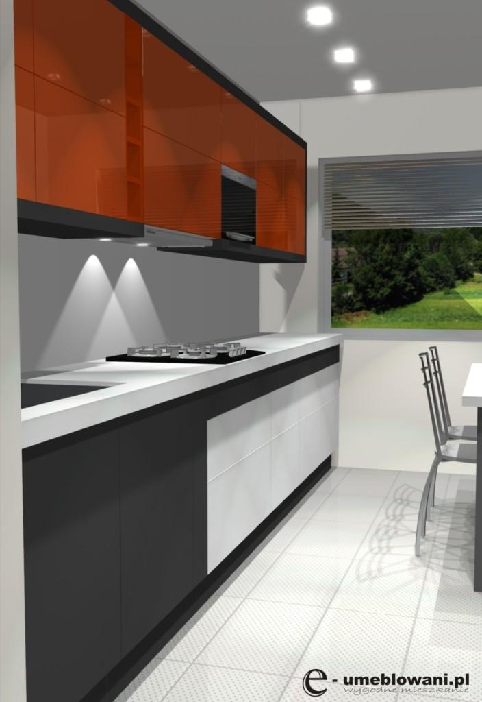 kuchnia wąska w bloku, biała, szara, pomarańczowa, zlew jednokomorowy z ociekaczem, stół