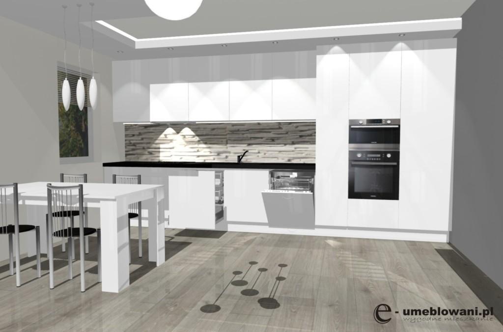 kuchnia otwarta, panele egger, stół, jadalnia, cargo maxi, klinkier, cegła, czarny blat, kuchnia biała połysk