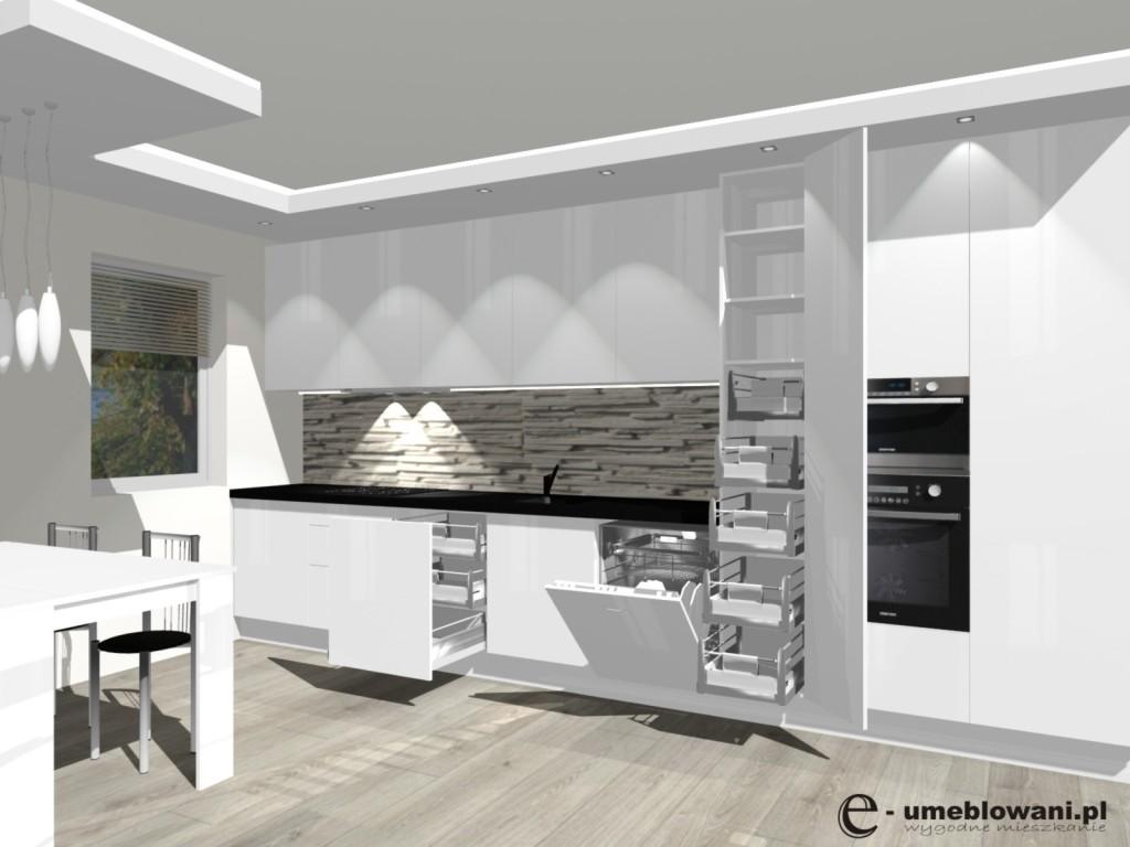 Kuchnia otwarta na salon, biała klinkier, panele egger, szuflady wewnętrzne blum,