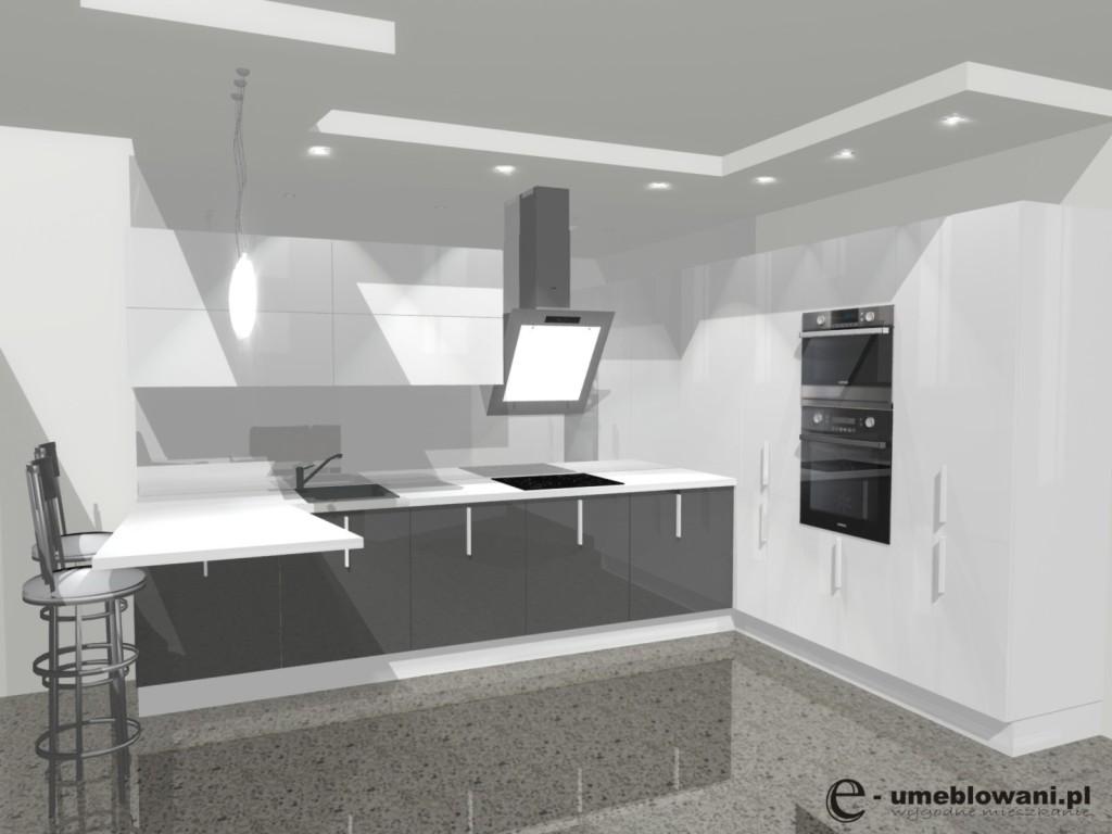 kuchnia otwarta z barkiem, biała, szara, barek