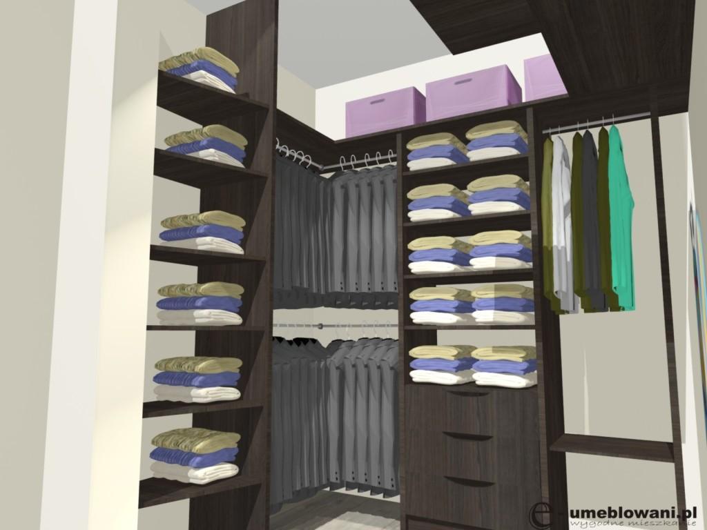 mała garderoba, półki, szuflady, drążki, deska do prasowania, płyta egger, podłoga panele egger