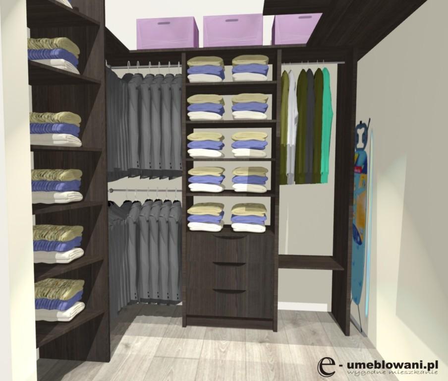 mała garderoba, szuflady, miejsce na deskę do prasowania, żelazko, wieszanie na rzeczy krótkie, wieszanie na rzeczy długie