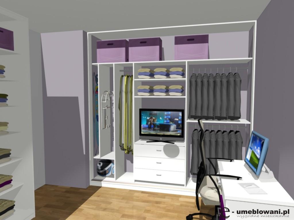sypialnia, Szafa, biała, telewizor, deska do prasowania, uchwyt na rurę do odkurzacza, marynarki