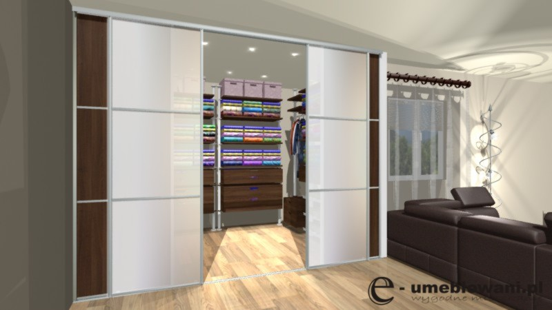 garderoba, panele podgłogowe egger EM7199, drzwi przesuwane z szybą mleczną, płyta meblowa egger 3704