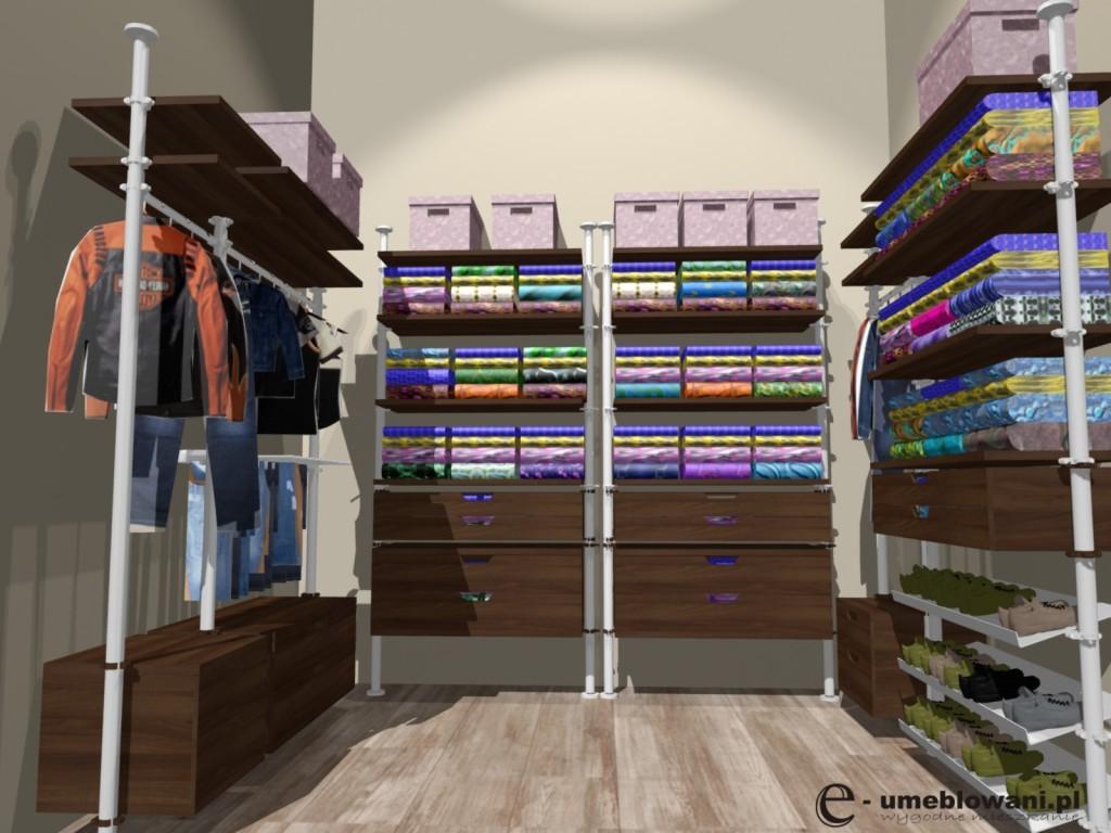 garderoba w mieszkaniu, szuflady na krawaty, paski, bieliznę, wieszak na spodnie, marynarki koszule, półki na buty