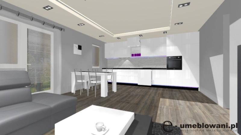 Biała kuchnia otwarta na salon, jadalnia, salon, kuchnia, podłoga egger, fronty białe połysk, stolik kawowy