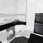 mała kuchnia biała, zmywarka 60, fototapeta na ścianie