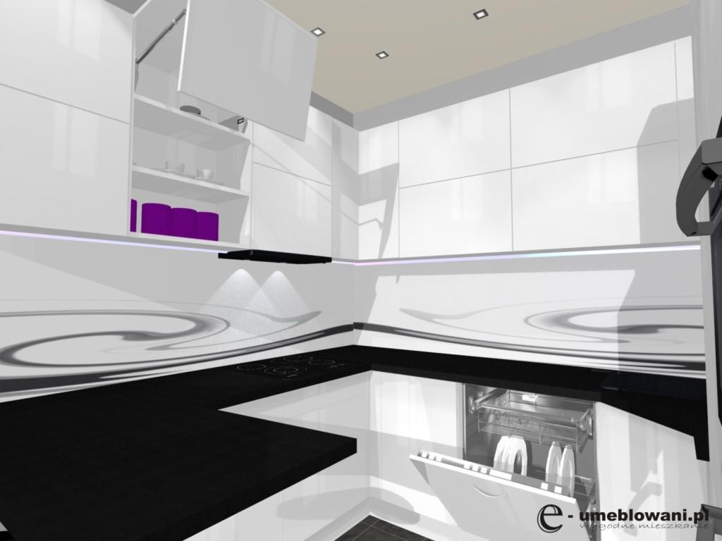 mała biała kuchnia w bloku, frontyy podnoszone do górny