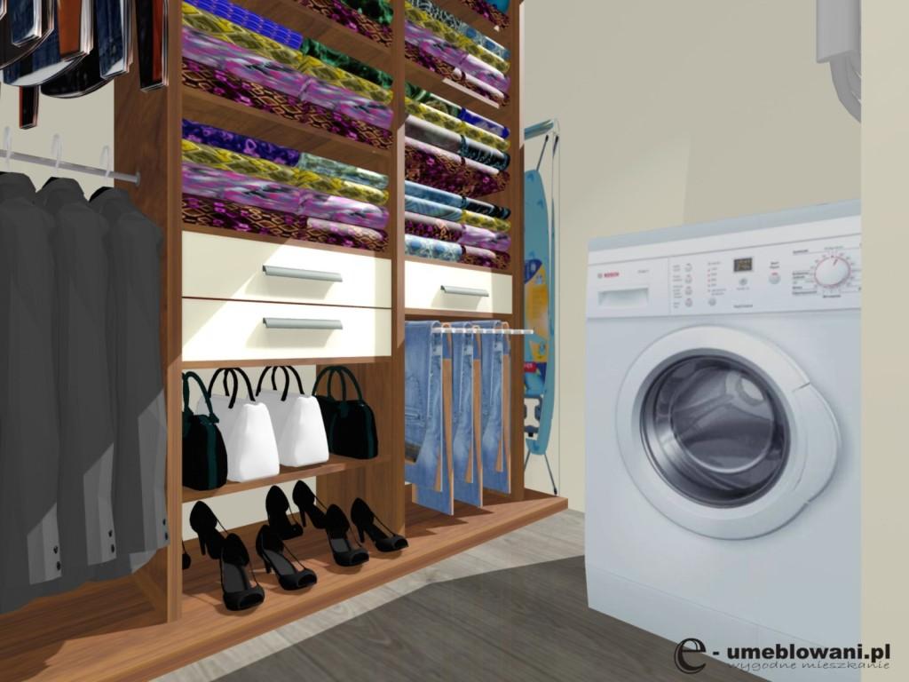 garderoba, deska do prasowania, szuflady,półki, wieszak na spodnie, pralka