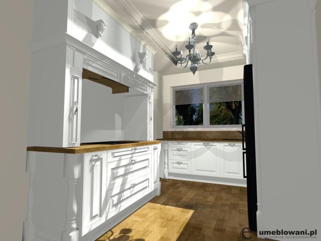 angielska kuchnia, żyrandol, podłoga drewniana, blaty drewniane, fronty białe