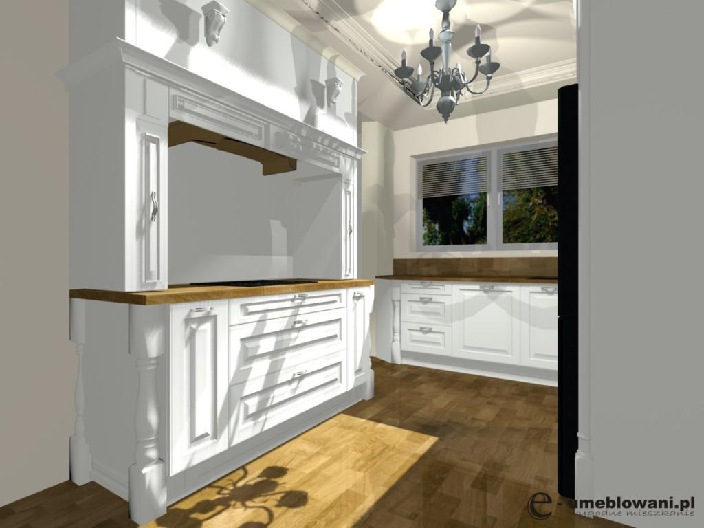 Kuchnia angielska, fronty białe, blaty drewniane