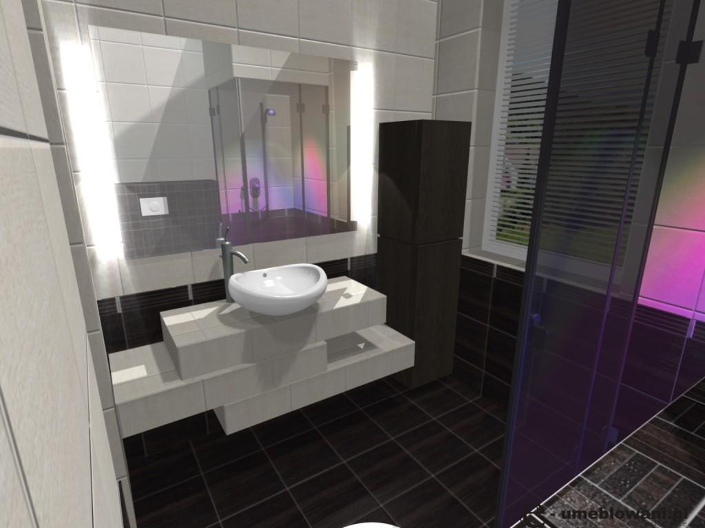 łazienka, umywalka na blatowa roca, kran roca atai