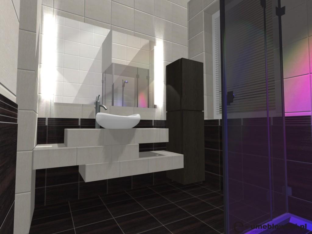 łazienka, kabina walk in, blat z płytek pod umywalkę, kafelki tubądzin