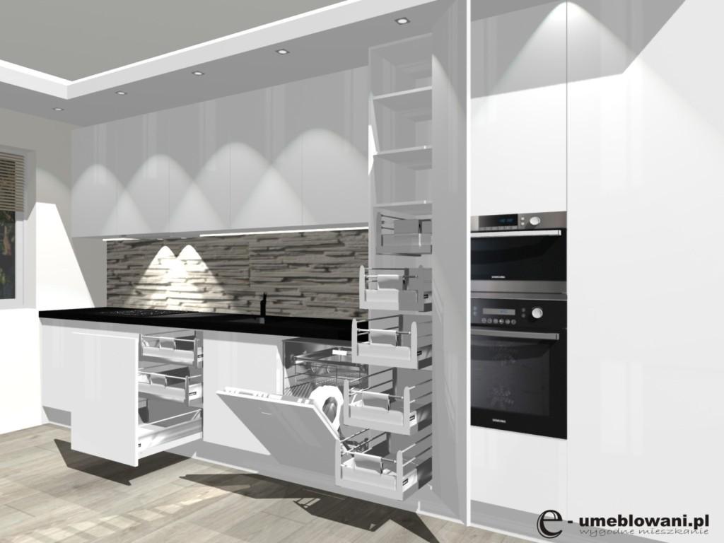 kuchnia, wąska kuchnia, zmywarka 60, szuflady wewnętrzne blum, biała, fronty połysk