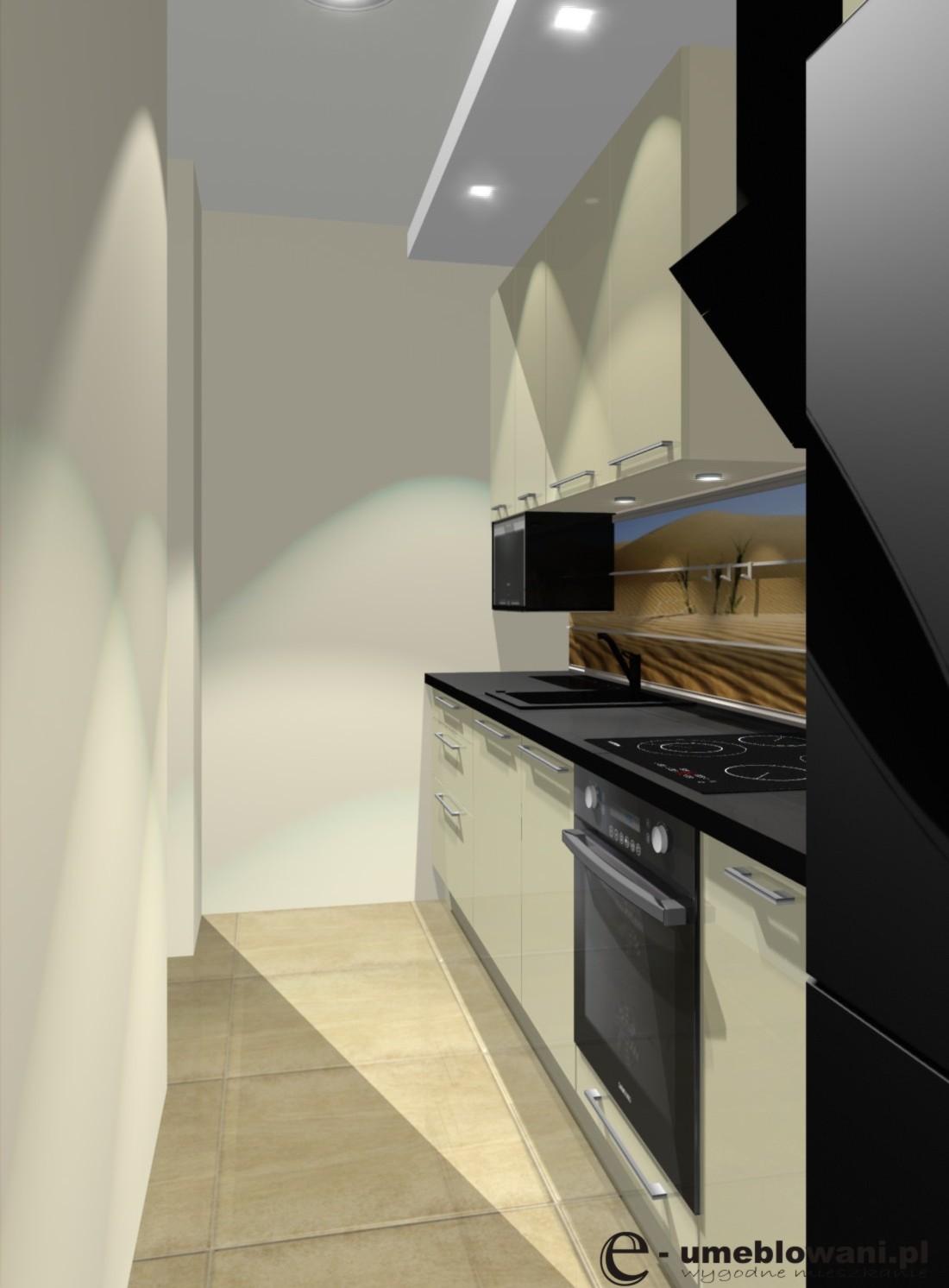 Wąska kuchnia w bloku, beż, czarny blat, fototapeta na ścianie, pikearnik pod   -> Wąska Kuchnia W Bloku Aranżacje