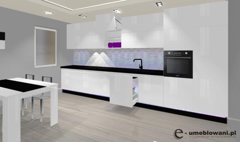 kuchnia otwarta, biały połysk, sortowniki do śmieci pod zlewozmywakiem, akcesoria blum, aventos, klinkier biały
