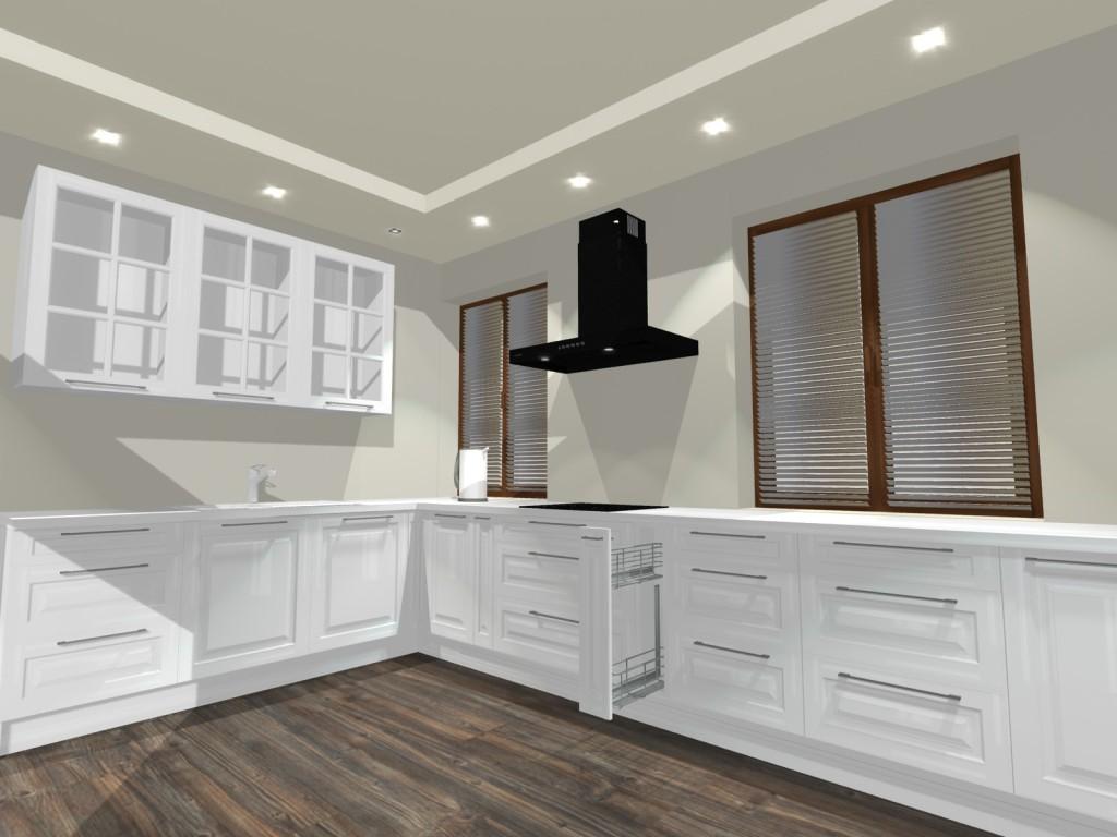 Kuchnia tradycyjna, biała, fronty frezowane, kuchnia z dwoma oknami