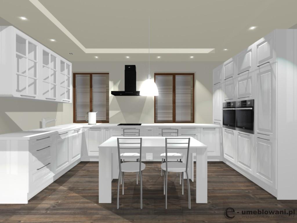 Kuchnia biała, klasyczna, stół, frezowane fronty, dwa okna, witryny, podłoga egger