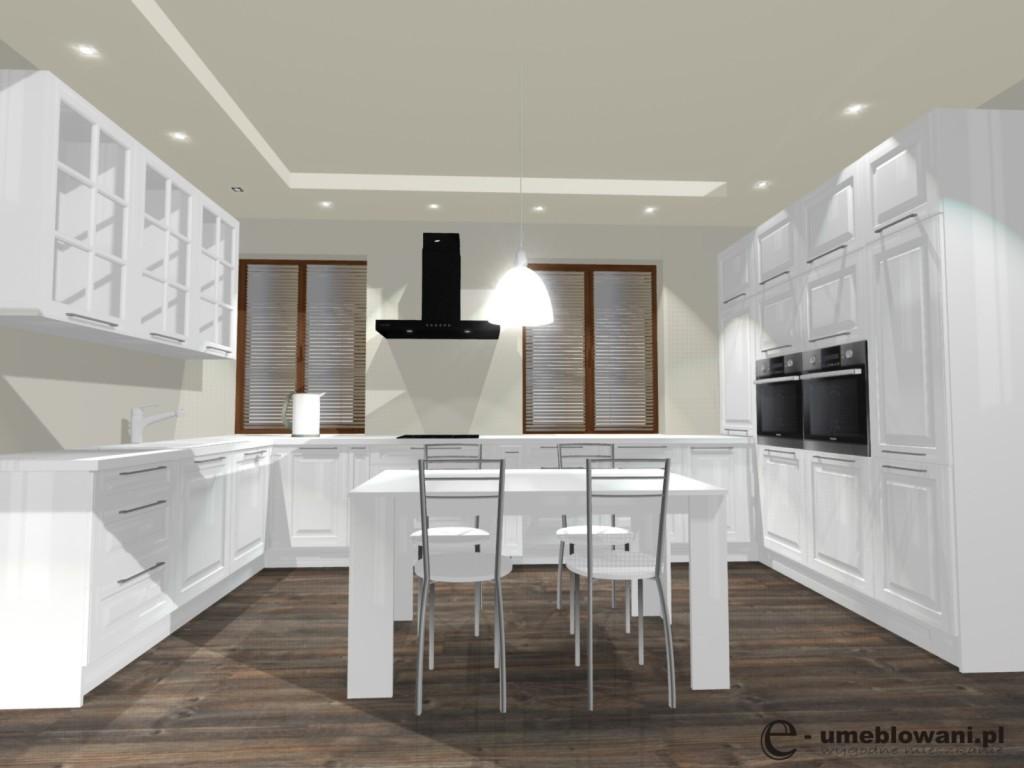 Kuchnia klasyczna, stół, podłoga egger, dwa okna, biała