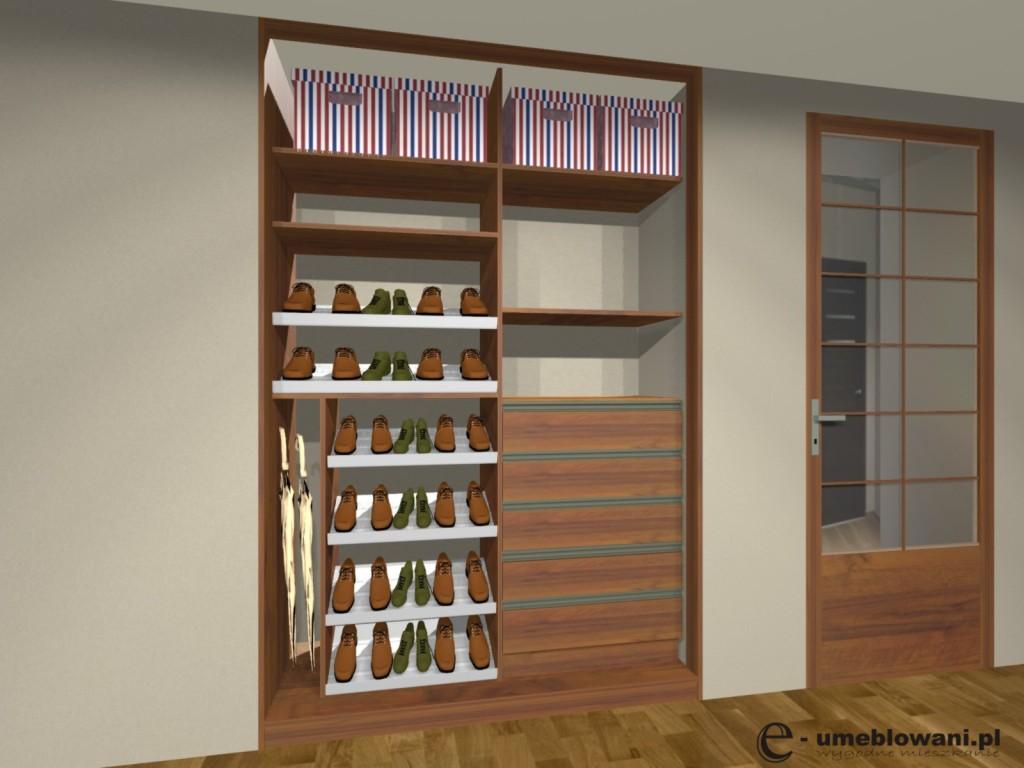 szafa wnękowa z drzwiami przesuwnymi, miejsce na parasole, torebki katony, szuflady