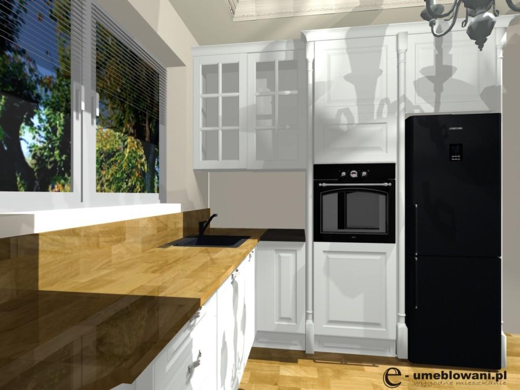 angielska kuchnia, blat drewniany, białe fronty  Projekty   -> Kuchnia Drewniany Blat