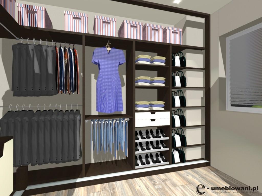szafa wnękowa drzwi przesuwne, płyta egger, szuflady, półki, drązki na sukienki