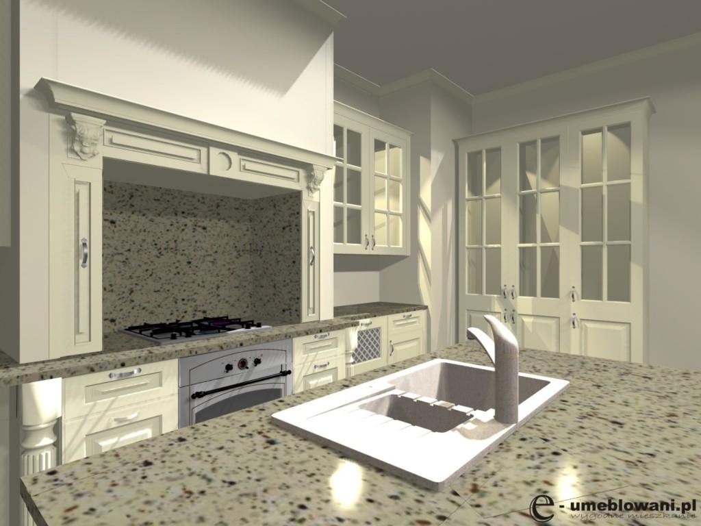 meble kuchenne angielskie, zlewozmywaka 1,5 komory, kredens, blat kamień