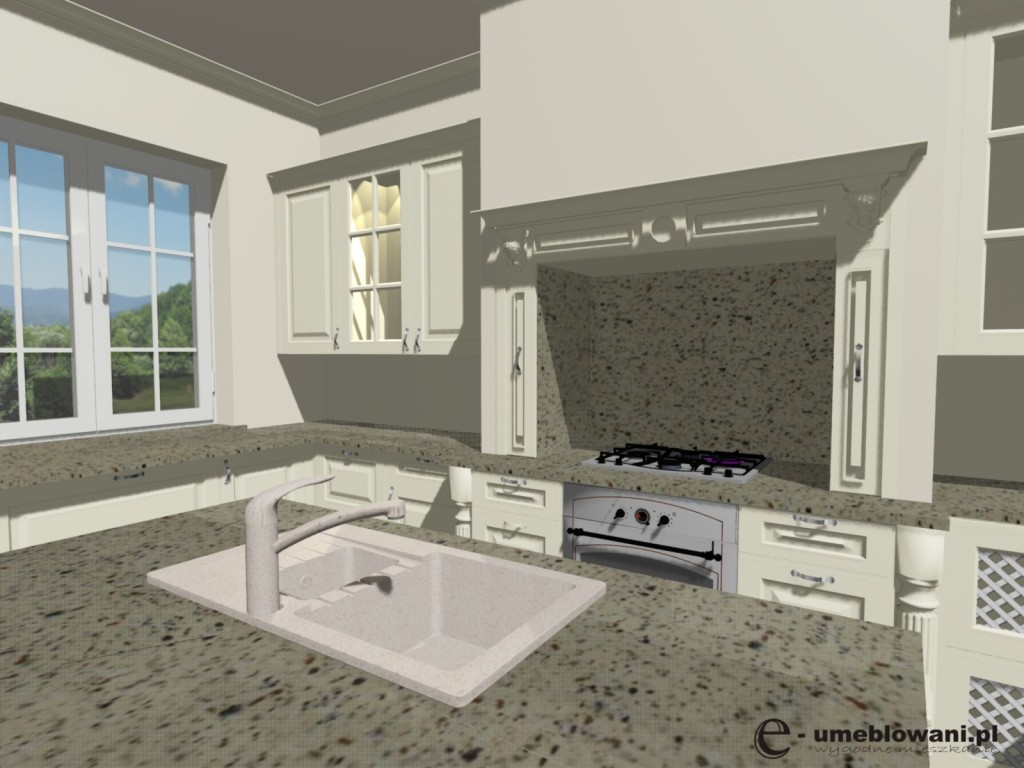 angielska kuchnia, witryny, jedno okno, zlew na wyspie